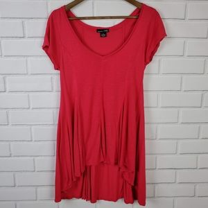 RXB Short Sleeve High Low Tunic Top Small Pink